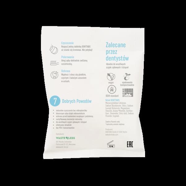 DENTTABS pasta do zębów zero waste z fluorem opakowanie tył